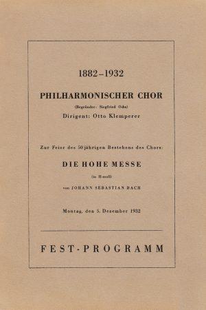 Plakat von Bachs ,Hohe Messe', Festprogramm 1932